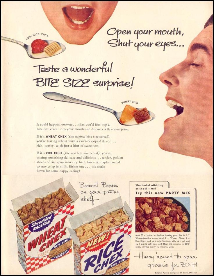 This 1952 Chex ad from Life Magazine features the real, original Chex Party Mix at the bottom of the page... Just like grandma used to make!