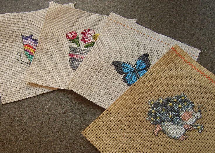 вышивка крестом: миниатюры. Бабочки, ежик, цветы