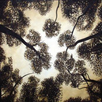 100cm ART PAINTING Aboriginal  GUM TREES Trees