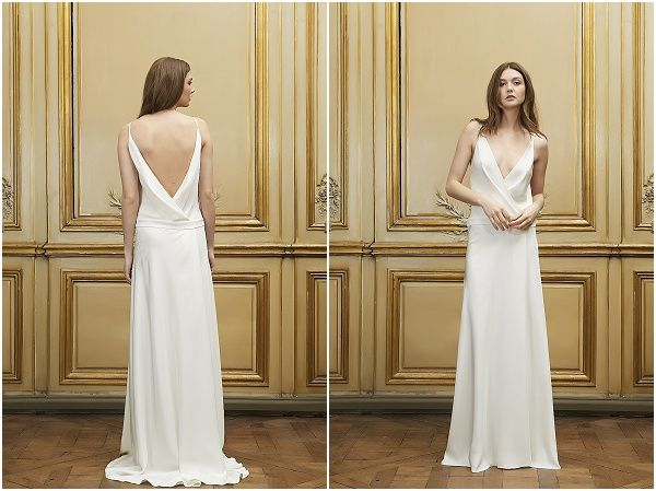 simple elegant wedding dress by Delphine Manivet, read more at http://www.frenchweddingstyle.com/delphine-manivet-2015-collection/