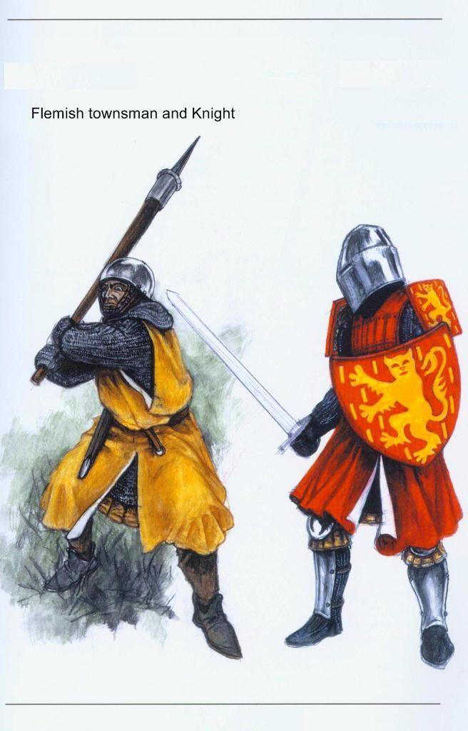 Soldato e cavalieri fiamminghi, XIV secolo