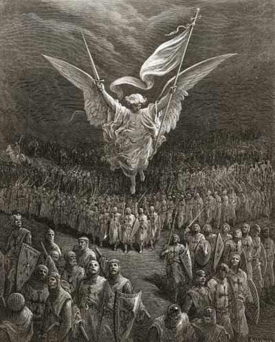 The Crusaders are blessed to victory. An angel leading the Crusaders to Jerusalem - Gustave Dore.