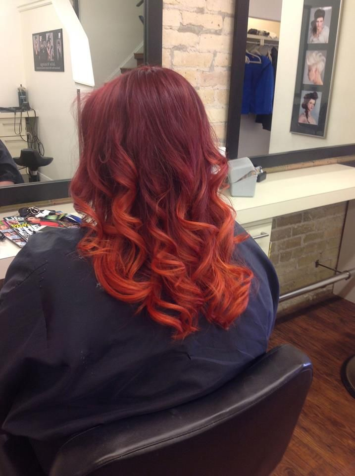 Gorgeous red ombre look from Salon Entrenous Stylist Emma