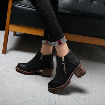 Cashmere and Retro Comfortable Martin Boots - BLACK 39