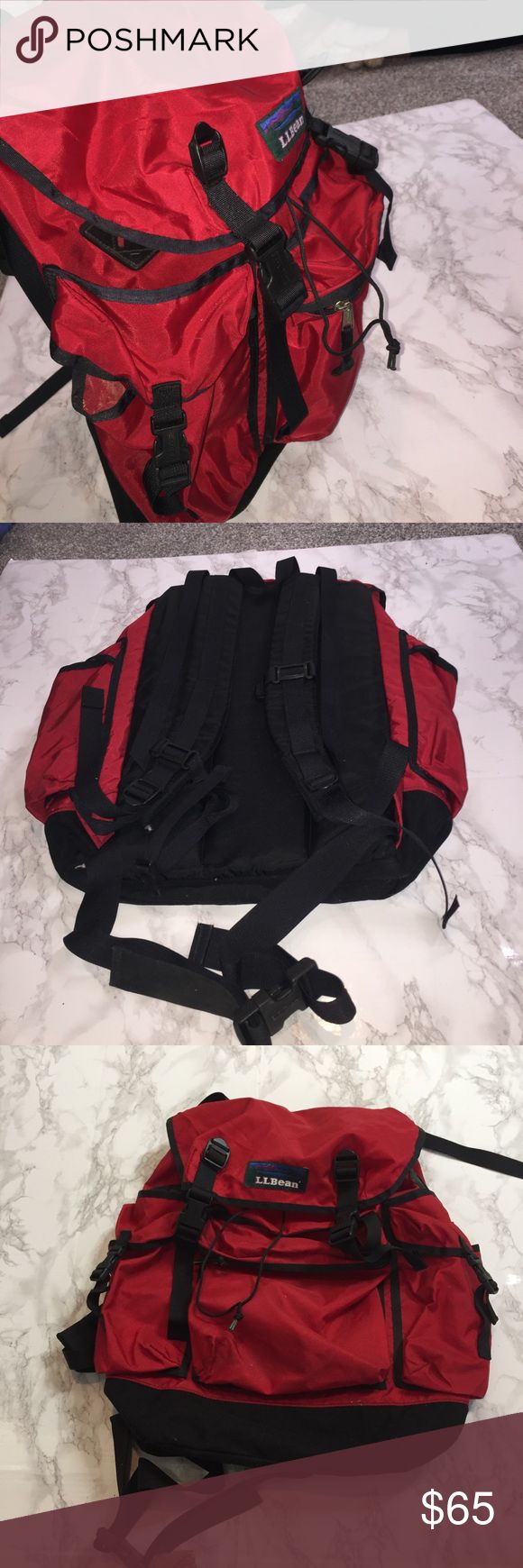 L.L. Bean Hiking Backpack! Great condition. High quality brand. Many large compartments. A supportive back. Washed. Some wear in the inner Top pictured above. Draw string main sack with a buckled cover. Straps to carry a sleeping bag or mat on top of the pack. Adjustable belt buckle for the waist for more even weight distribution. L.L. Bean Bags Backpacks