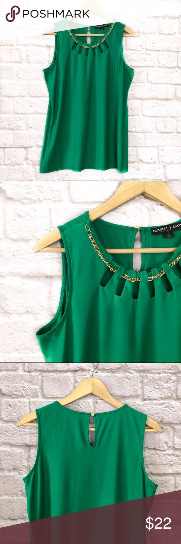 Russel Kemp emerald keyhole blouse w/ chain detail Beautiful bright emerald green sleeveless blouse withjeyhole cutouts on the neckline, threaded with a light gold chain, and accentuated with a simple keyhole in the back. Russell Kemp Tops Blouses