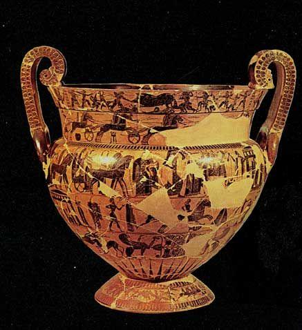 Vaso François -570 a.C -pittore Kleitias -luogo di ritrovamento: tomba etrusca di Chiusi -luogo di conservazione: Museo Archeologico Nazionale, Firenze -ceramica a figure nere