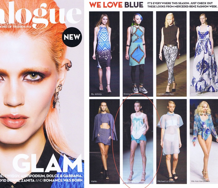 Blue haven!  Catalogue featured a shot from our WANDERLUST MBFWA runway in their blue editorial spread.