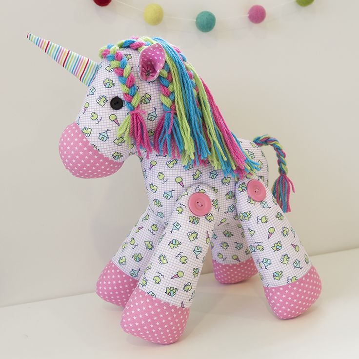 Unity the unicorn is ever so sweet! Put a smile on the face of any unicorn lover in your life with this easy to make friend. Use as many wool colours as you like to create a rainbow mane for your toy, or simply use one colour to be more co-ordinated. This softie pattern is suitable for intermediate sewers.