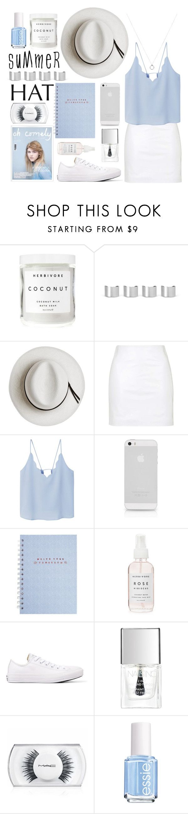 """""""top it off: summer hats"""" by fernweeh on Polyvore featuring moda, Herbivore, Maison Margiela, Calypso Private Label, Topshop, MANGO, Converse, Lipsy, MAC Cosmetics i Essie"""