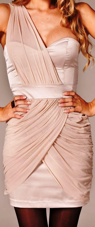 Elise Ryan / Satin Chiffon Dress blush