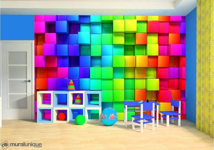 rainbow cubes 12 39 x 8 39 3 66m x 2 44m mural unique ad. Black Bedroom Furniture Sets. Home Design Ideas