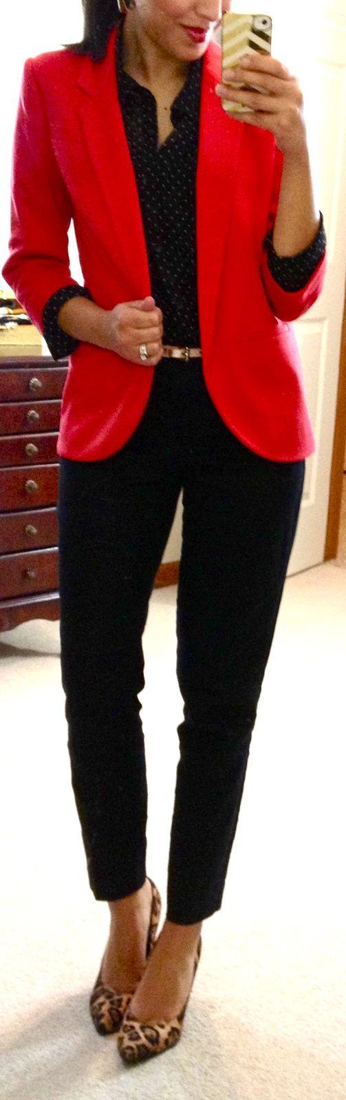 Red blazer, black polka dot blouse, black ankle pants, leopard heels