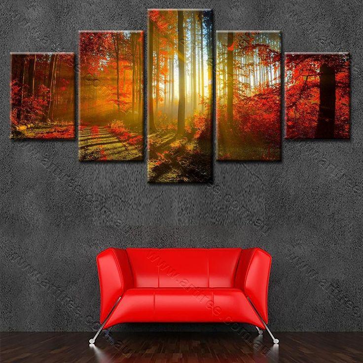 Red Forest Wall Art Print - Free Delivery Sydney, Melbourne, Brisbane, Perth, Adelaide, Toowoomba, Ballarat, Bendigo, Tasmania  #forest #repin #artforsale #popular