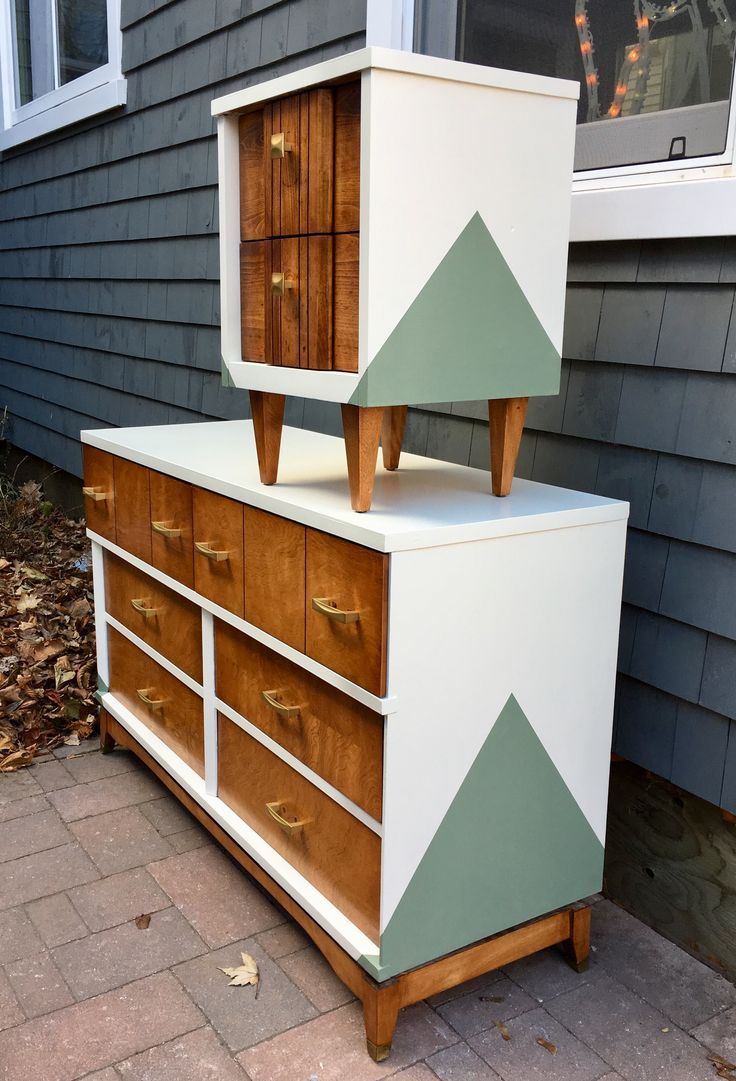 Refinished mid century side table and dresser painted to match. Done with General Finishes Antique White and Basil. Drawers done with General Finishes nutmeg gel stain.