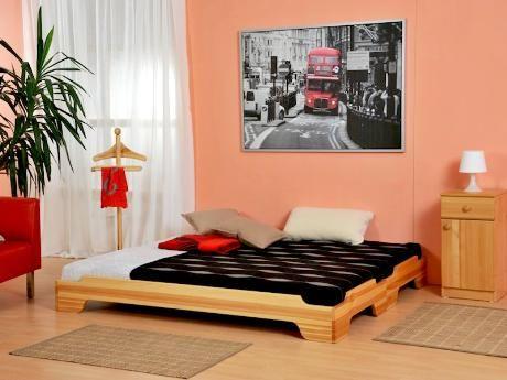 Skládací postele Twin je možné položit na sebe a poté opět rozložit na dvě samostatná lůžka. Vyrábí se v masivním buku, jádrovém buku, dubu, borovici nebo smrku. Na výběr je 17 odstínů. / Folding beds Twin can be put on each other and then split into two single beds again. It is made of solid beech, core beech, oak, pine or spruce. The selection of 17 colors. #bed #folding #sofa #postel #rozkladaci #skladaci #bedroom #loznice #jmp