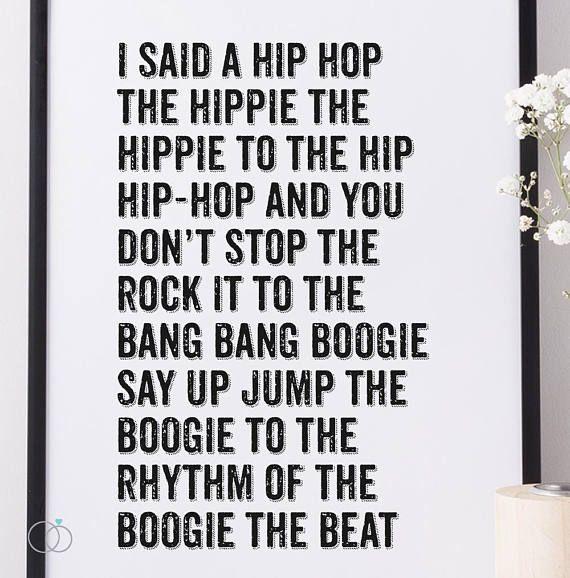 Hip Hop Art Print The Sugarhill Gang Lyric Print 80's