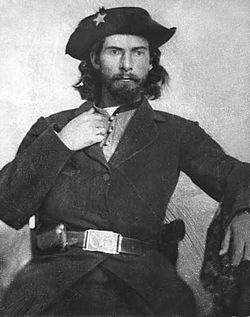 """~~William """"Bloody Bill"""" Anderson. Often credited as the most cruel and sadistic of the Missouri Guerrilla fighters. Killed in Richmond, Missouri, October 26, 1864."""