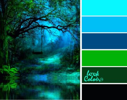 bright greens turquoise blues and forest magic