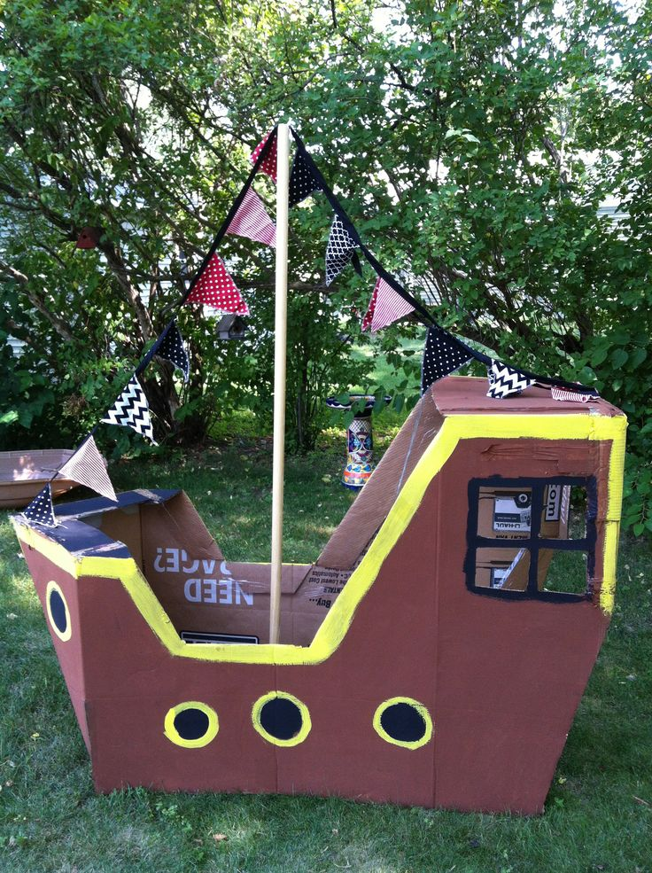 Cardboard Pirate Ship for my sons 3rd birthday.