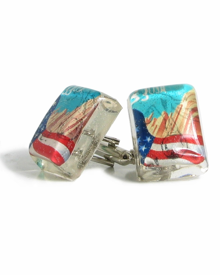 Cufflinks made from recycled American Flag Stamps