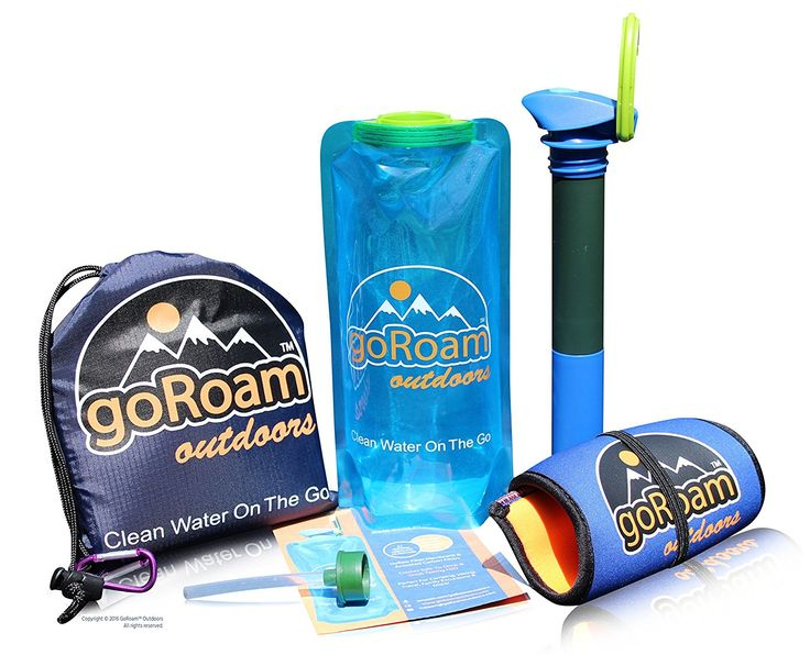 GoRoam Outdoors Collapsible Water Purifier Bottle, 2in1 Survival Filter Straw Dual UF Hollow Fiber  Carbon Filter. Portable Filtration System Perfect for Camping, Hiking, Emergency Preppers  Travel -- Click image to review more details.