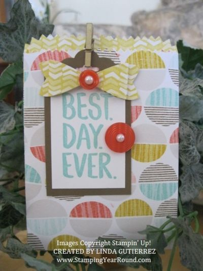 Make this using the Stampin' Up! Mini Treat Bag Thinlits Dies.  Visit www.StampingYearRound for more creative ideas.