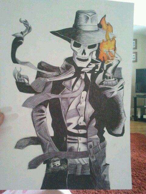 My piece of A3 art in pen based on the book series Skulduggery Pleasant by Derek Landy.
