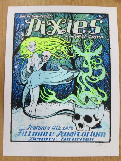 Original silkscreen concert poster for The Pixies at The Fillmore Auditorium in Denver, CO in 2014. 18 x 24 inches. Signed and numbered out of only 100 by the artist Lindsey Kuhn