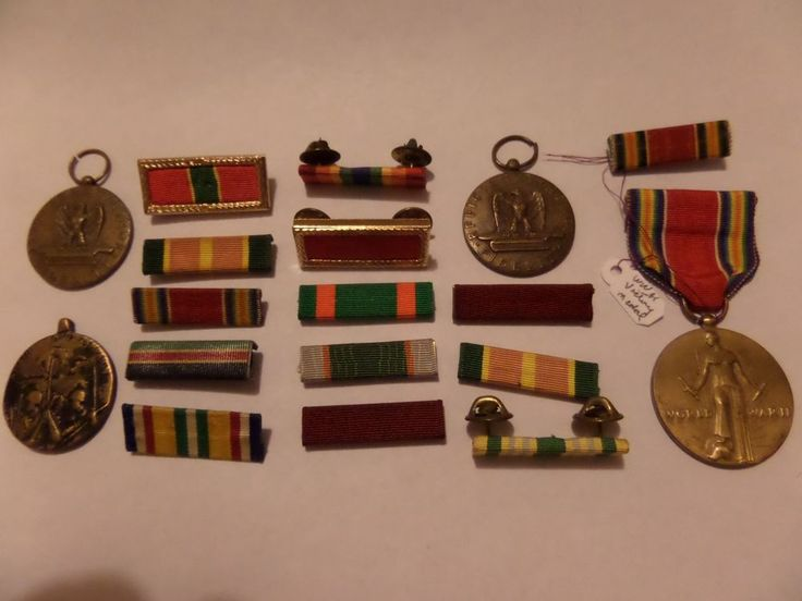 MILITARY MIXED LOT WW2 VICTORY MEDAL 3 OTHERS 14 RIBBONS