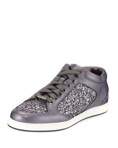 40b58704abb9 Jimmy Choo Miami Leather and Star Glitter Sneakers, Pewter #JimmyChoo
