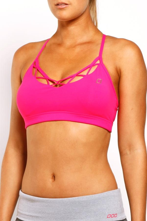 Lorna Jane Lattice Bra in Shocking Pink