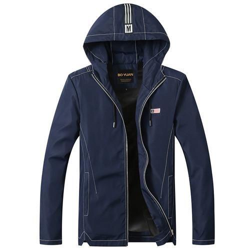 BOYUAN Male Coat Hooded Jacket Men Spring Autumn Jacket Coats Male Casual Men's Jackets Fashion New Large Size M-4XL 8706