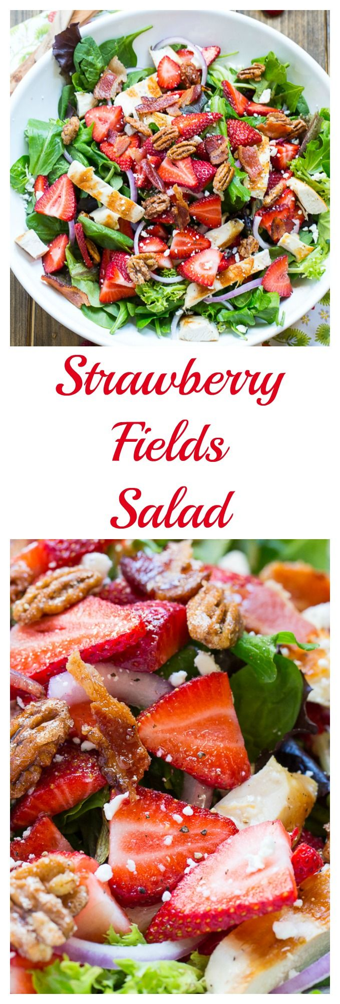 Strawberry Fields Salad with bacon, feta cheese, glazed pecans, and grilled chicken.