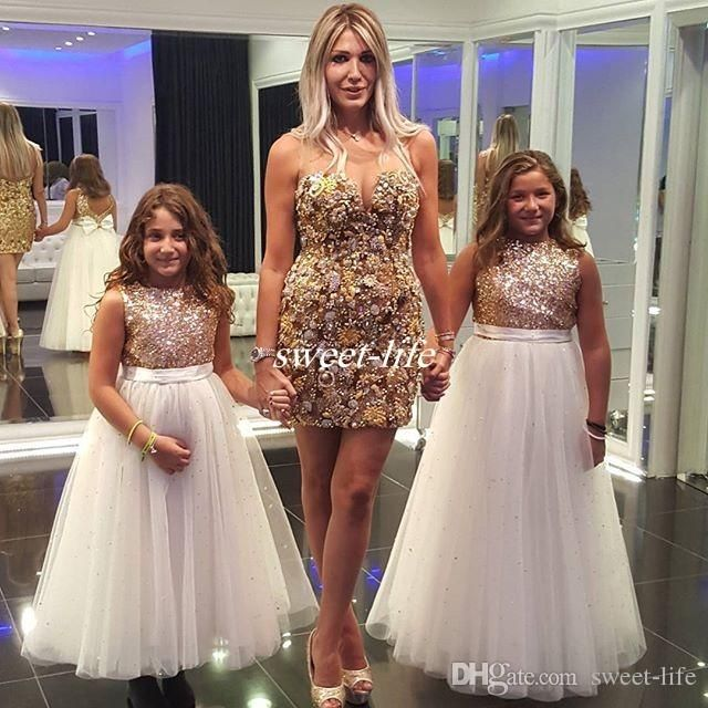 Sparkly Rose Gold Sequined Wedding Flower Girl Dresses Long Tulle Jewel Neck Bow…