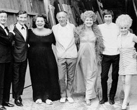 The carry on veterans - Kenneth Williams, Hattie Jaques, Sid James, Joan Sims, Jim Dale and Barbara Windsor