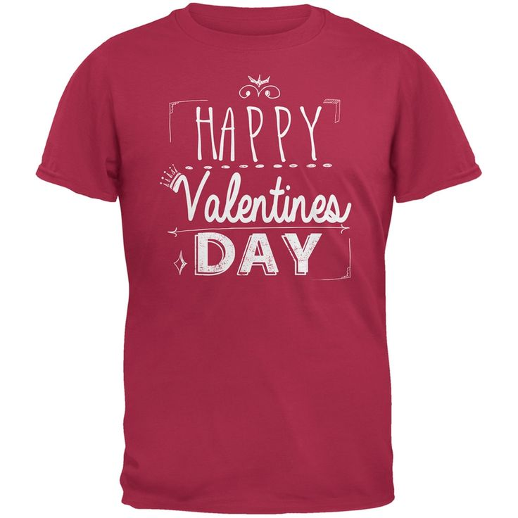 Valentine's Day - Happy Valentines Day Sign Red Adult T-Shirt