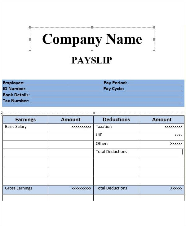 Salary Slip Template 20 Ms Word Excel Pdf Formats Free Payslip Templates In 2020 Payroll Template Salary Ms Word