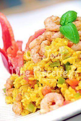 Photo de la recette Riz au curry et crevettes