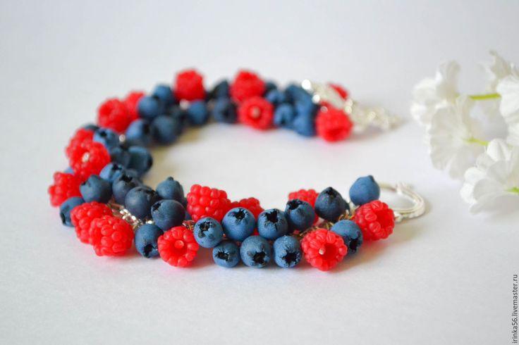"""Купить Браслет """"Черника и малина"""" - ярко-красный, красный, малиновый, малина, ягода малина, черника"""