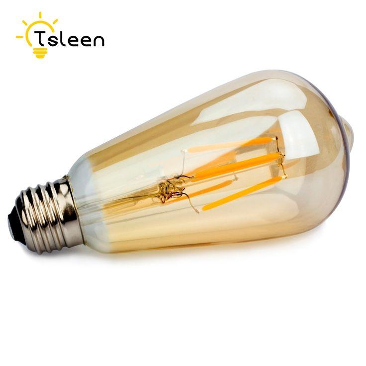 TSLEEN 6PCS Vintage Bulbs Edison Filament Bulb ST64 COB Led Lamp E27 16W 220V Dimmable 110V Led Lights Replace 60W Incandescent #Affiliate