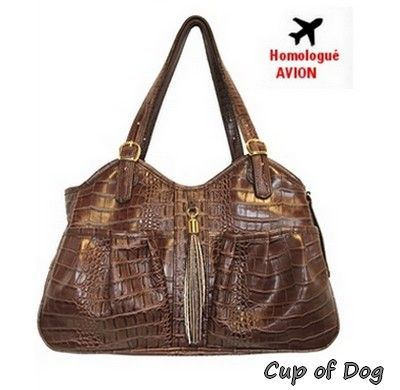 Metro PETOTE - Brown Croco with Tassel luxueux sac de transport pour chien.