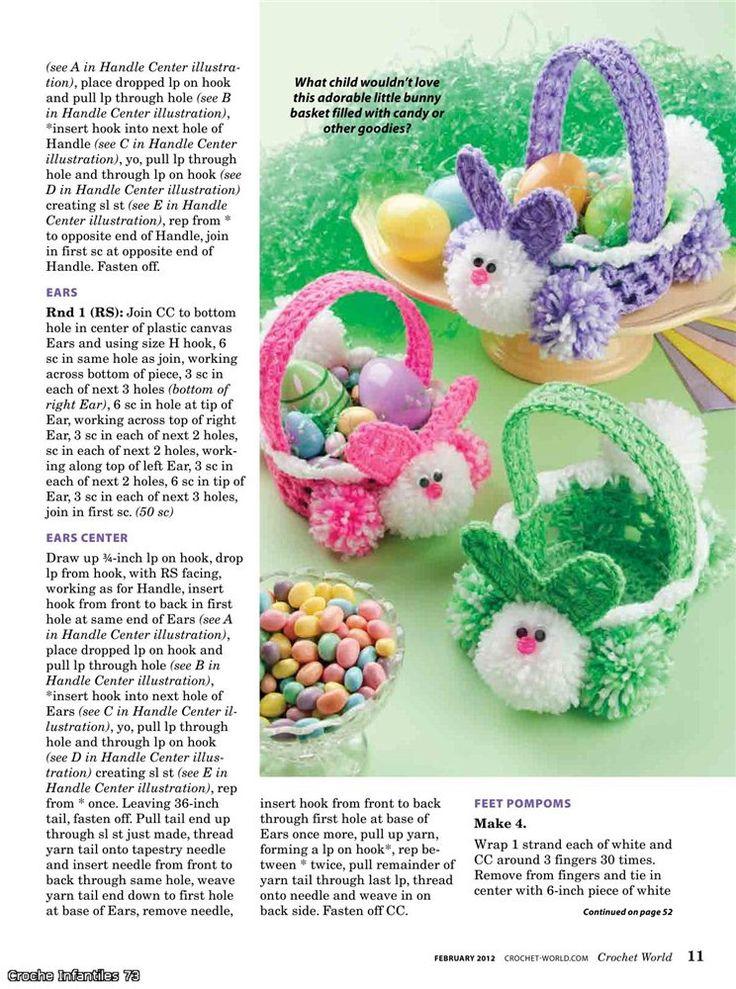 easter crafts for kids: crochet bunny basket - crafts ideas - crafts for kids