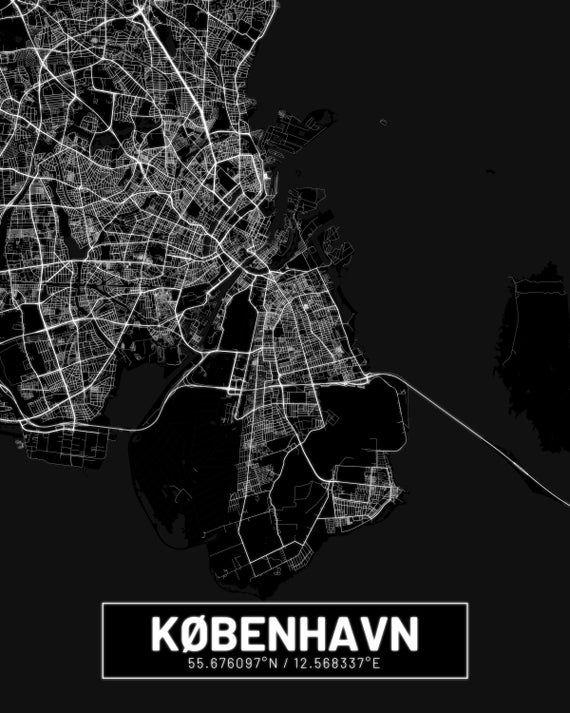 Kort Over Kopenhavn Copenhagen City Print Copenhagen Poster