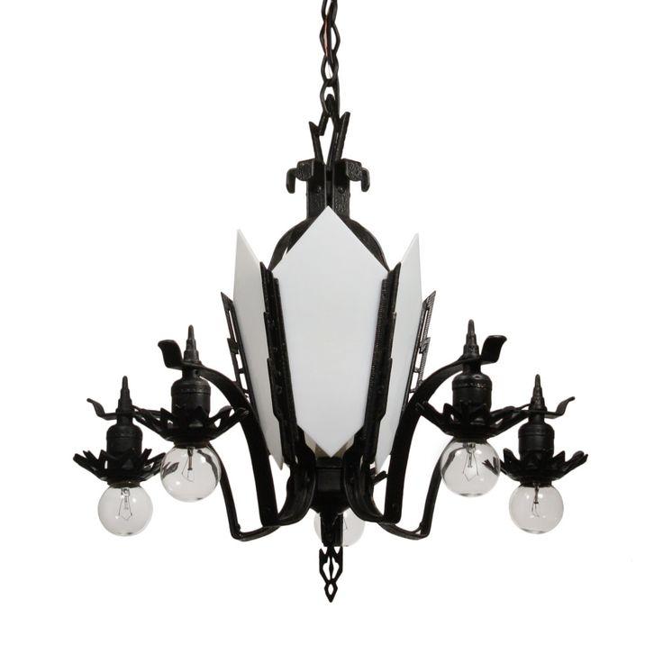 Antique art deco cast iron chandelier c 1930s