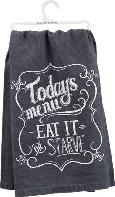 Item # 26888 | Dish Towel - Todays Menu | Primitives by Kathy