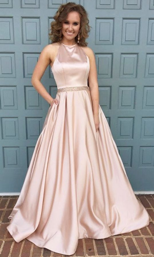 pink prom dress,ball gowns prom dress,satin gowns,long prom