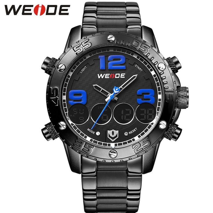 Full Steel Auto Date Watch Mens Analog Digital Dual Time Zone Alarm Stopwatch Display Sport Waterproof Watches For Men