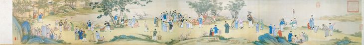 Spring Market at Peace (太平春市圖)  Ding Guanpeng (丁觀鵬, ca.1707-1770), Qing Dynasty (1644-1911)    Handscroll, ink and color on silk, 30.3 x 233.5 cm, National Palace Museum, Taipei