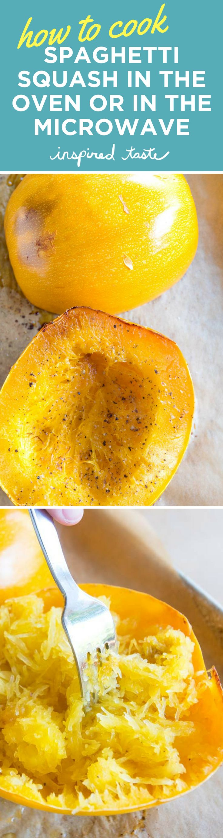 Learn how to cook spaghetti squash perfectly every time. We share how to bake it in the oven or, if you are short on time, how to cook it in the microwave.
